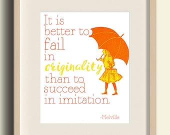 Herman Melville Quote Print, Literary Quotes, Printables, Digital Prints, Nursery Decor, orange wall art, girl bedroom decor, orange nursery