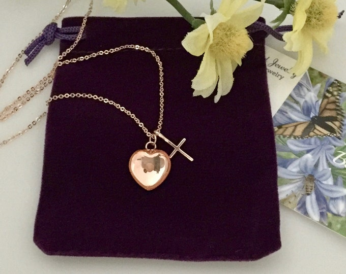 Rose gold cross necklace, rose gold heart necklace with mustard seed and cross, Gift for her, Christian necklace, Faith of a mustard seed