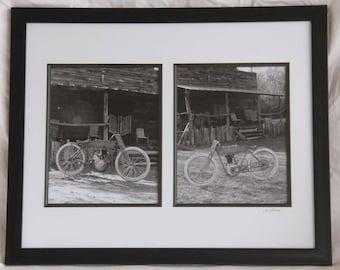 2 - 8x10 inch framed prints of a 1914 Harley Davidson motorcycle