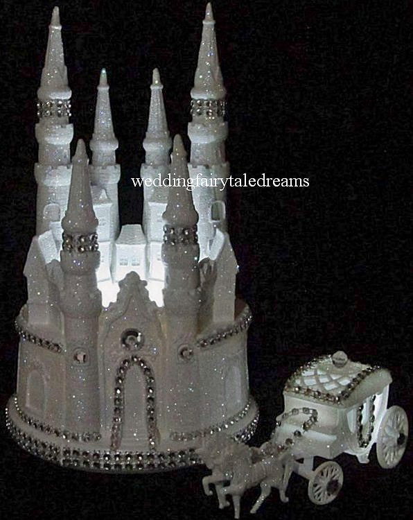 Bling Lighted Cinderella Castle & Carriage Wedding Cake Topper