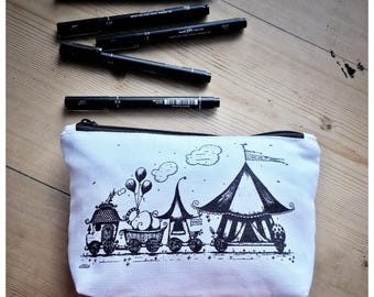 Circus Train Cotton Pencil Case/ Make Up Bag/ Zip Bag
