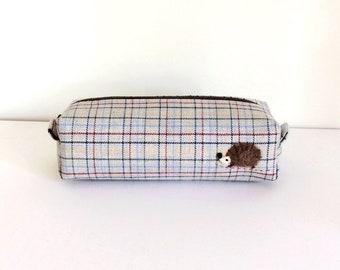 Long box pouch - grey check and a hedgehog applique