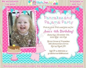 Pancakes and Pajamas Invitation Pancake and Pajama Party birthday invitation invite pancakes and pj's party  photo picture printable