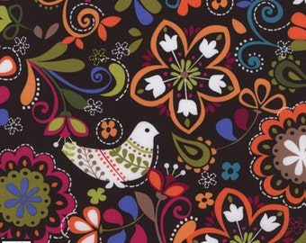 ON SALE!! Birds of Norway Fabric - Espresso (Folk Birds Tula Fabric) - sold by the 1/2 yard