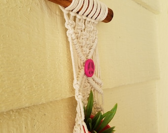 Pretty In Pink -Small macrame plant holder