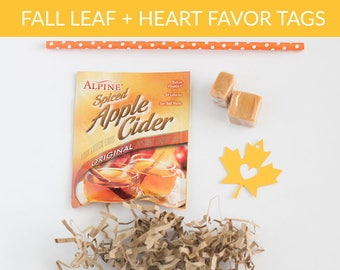 Fall Leaf + Heart Wedding Favor Gift Tags