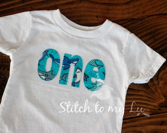 First Birthday SHARK Tee Shirt or Bodysuit Turquoise Blue Gray 1st Birthday Party