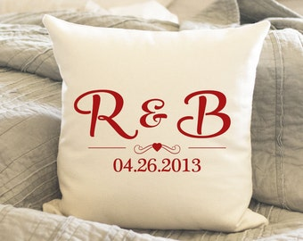 Anniversary Gift, Second Anniversary Cotton Gift, Personalized Anniversary Gift, Custom Throw Pillow with your initials and date