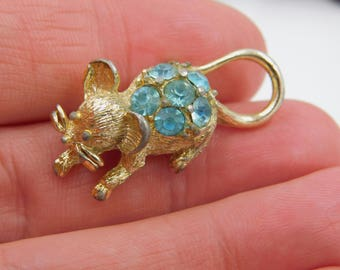 Vintage Crystal Rhinestone Belly Mouse Pin or Brooch dr28