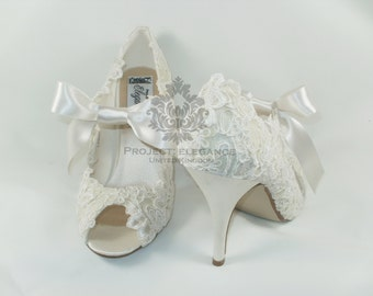 Eliza Lilly - Stunning Ivory satin & Lace Vintage Peep Toe Shoes - Any height, any colour. Fully customisable
