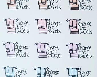 Change Towels - set of 60 stickers perfect for Erin Condren Life Planner, Happy Planner, Kikki K or Filofax Planner