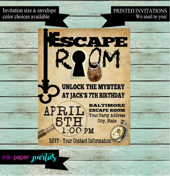Escape Room Mystery Puzzle Birthday Party Invitations Invites