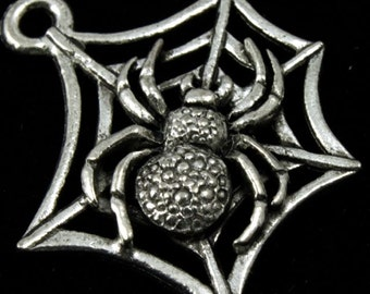 20mm Antique Pewter Spider on Web Charm #CMB761