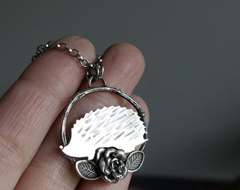 Sterling Silver Hedgehog Pendant - nature pendant - silver Hedgehog necklace - Hedgehog necklace - nature jewellery - Hedgehog gift