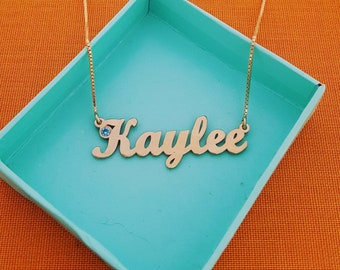 Birthstone Necklace Custom Name Necklace Gold Name Necklace Personalized Jewelry 14 Karat Name Necklace March Birthstone Kaylee Necklace