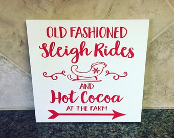 ON SALE Wood christmas signs - old fashioned sleigh rides - vintage christmas sign - hot cocoa at the farm - rustic christmas decor - sleigh