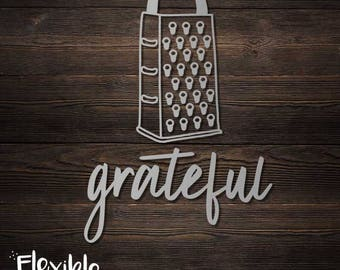 Grateful Iron-On Transfer - Cheese Grater, Punny