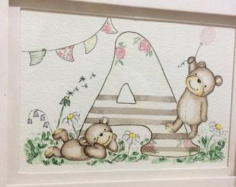 Teddy themed name art, nursery decor,name art,nursery wall art,initial art,illustration,custom name art,childs name,bedroom,new baby art