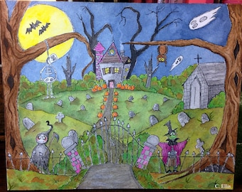 Halloween Grimmy cemetery watercolor and ink illustration thick 8 by 10 Strathmore Watercolor paper
