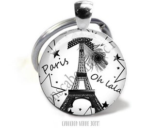 Keychain jewel cabochon glass 30mm, silver,Paris  ref921