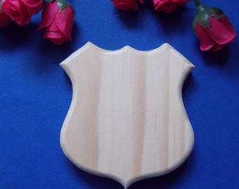 Police Shield Unfinished DIY Wood Decoration