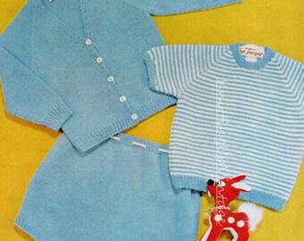 Baby Knitting Pattern pdf Baby Boy Jumper, Cardigan and Shorts