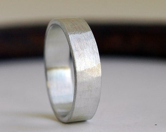 Wedding Band - Wedding Ring - Silver Ring - Wide Silver Ring - Unisex Ring - Wedding Band Men - Wide Band Ring - Hammered Ring - 6mm  R4056