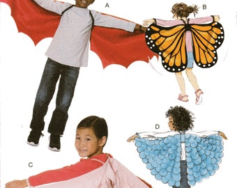 WINGS McCall's Costumes Pattern 7491 BATWINGS BUTTERFLY Fairytale Child/Boys/Girls' Xsm Sm Med Lg