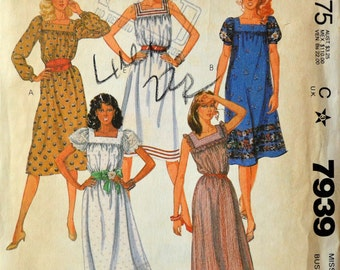 1980s McCall's Vintage Sewing Pattern 7939, Size 6; Misses' Dress