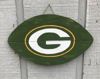 Green Bay Packers logo reclaimed pallet wood football sign