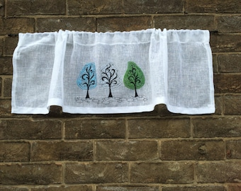 White Kitchen Curtain, Linen Lace Valance, Sheer Window Topper, Tree Sketch Embroidery Bathroom Shade