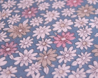 Japanese Kimono Fabric - Pretty Petals on Blue - LAST PIECE
