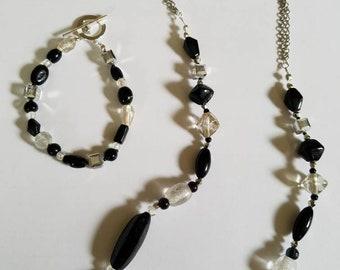 Black Beauty Glass bead necklace and bracelet