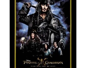 Pirates of the Caribbean panel Captain Jack Sparrow quilt fabric cotton disney