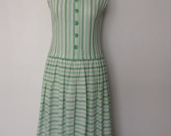 French vintage 1960s white and green striped cotton day dress with dropped waist - medium large M L