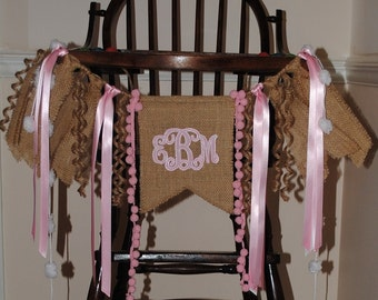 MONOGRAM Birthday Banner Girl-Personalized HIGH CHAIR Banner-Banners-Birthday Banners-Custom Banners-Party Banner-Photo Prop