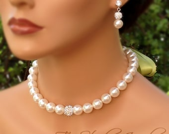 Crystal Pave and Pearl Bridal Necklace- Disco Ball Rhinestone Bridesmaid Necklace