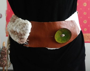 leather and multifiber crochet belt