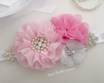 Pink bridal bridesmaid flower girl sash, pink white wedding sash, pink white maternity sash belt, pink bridal belt,