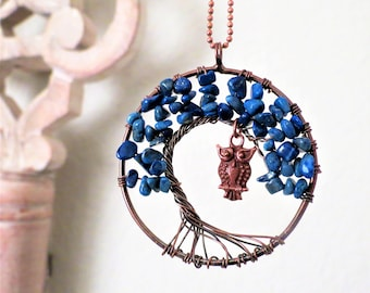 Owl Tree of Life Necklace Lapis Lazuli Gemstone Necklace  Wire Tree of Life Jewelry Family Tree Blue Owl Necklace Teen Girl Gift Blue Owls