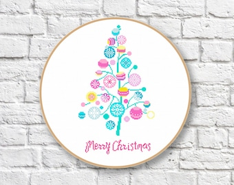 Christmas Tree Cross Stitch Pattern, Christmas Tree Patterns, Merry Christmas Cross Stitch Pattern, PDF Instant Download #ch009