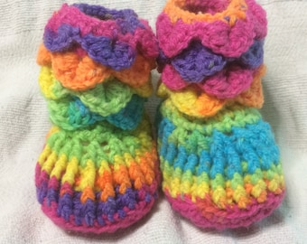 Handmade Crochet Crocodile Stitch Rainbow  Baby Boots/Shoes/Slippers  Size  0-6/6-12 Months Old