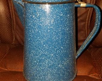 Blue Speckled Enamelware Coffee Pot