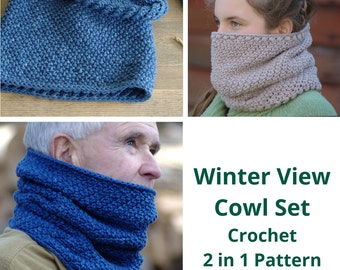 Crochet Pattern - Womens Cowl Pattern Crochet Cowl Scarf Pattern Womens Neck Warmer Pattern - Winter View Cowl P136
