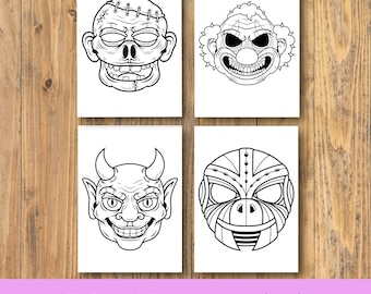 Set of 4 Colouring Pages, HandDrawn Colouring Page, A4 , | Instant Download PDF
