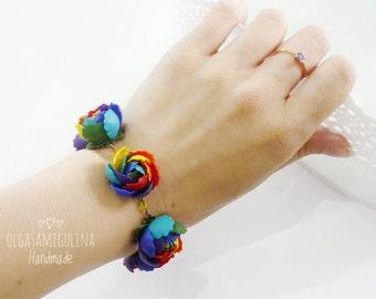Rainbow bracelet, rainbow jewelry, polymer clay bracelet, handmade peony, beautiful jewelry, rainbow peony, polymer clay flower.
