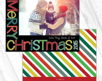 Holiday Photo Card (5x7) - Bright Block Letters - Merry Christmas or Happy Holidays