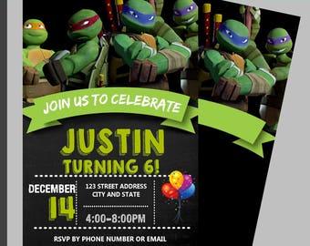 Instant Download, TMNT Birthday Invitation, TMNT Invitation, Teenage Mutant Ninja Turtles Invitation, Chalkboard- Free Thank You Card