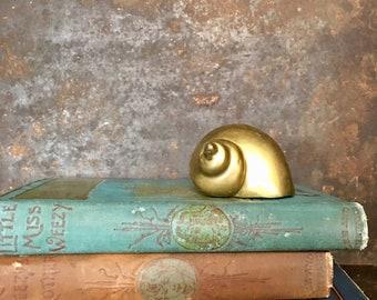 Vintage Brass Seashell // Nautical Beach Decor // Solid Brass Paperweight