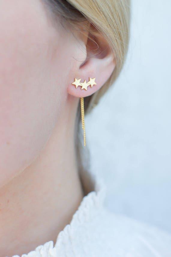Ohrring Faden Einfädler Ohrringe gold Stern Ohr Jacke